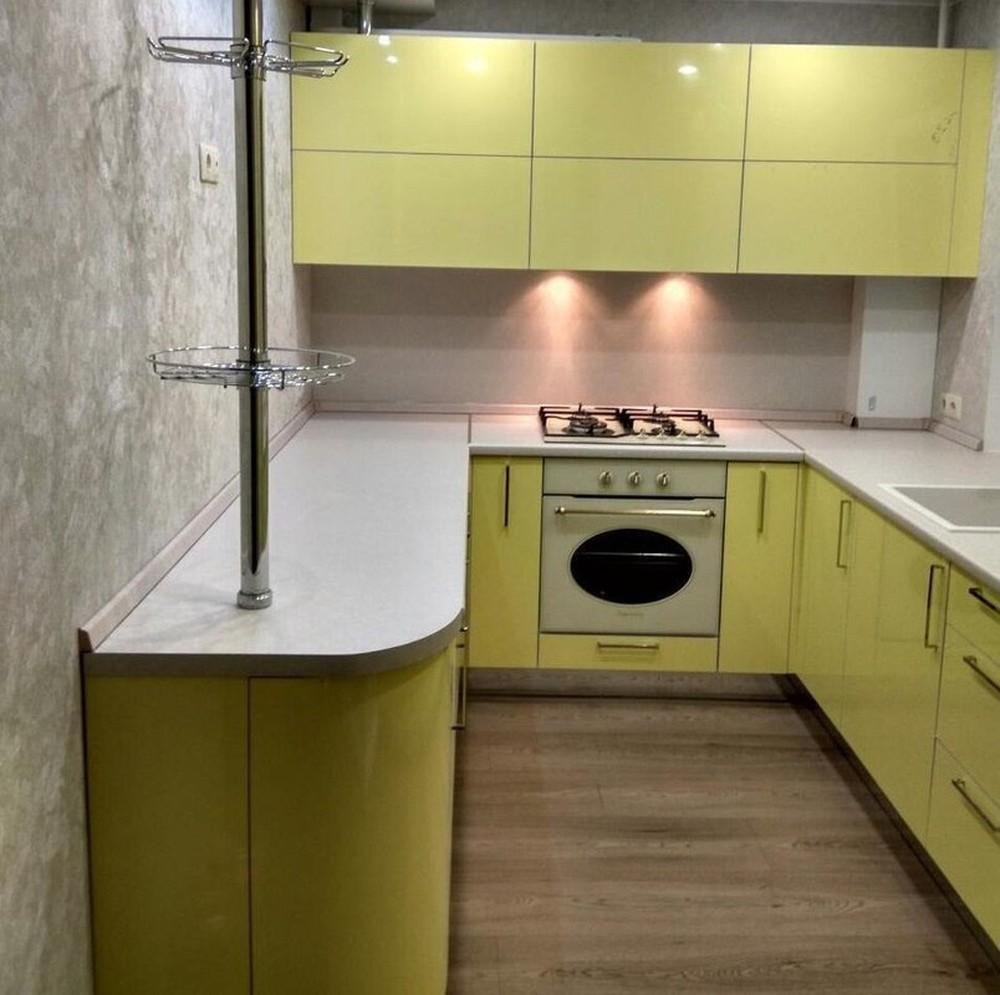 Акриловые кухни-Кухня МДФ в эмали «Модель 163»-фото1