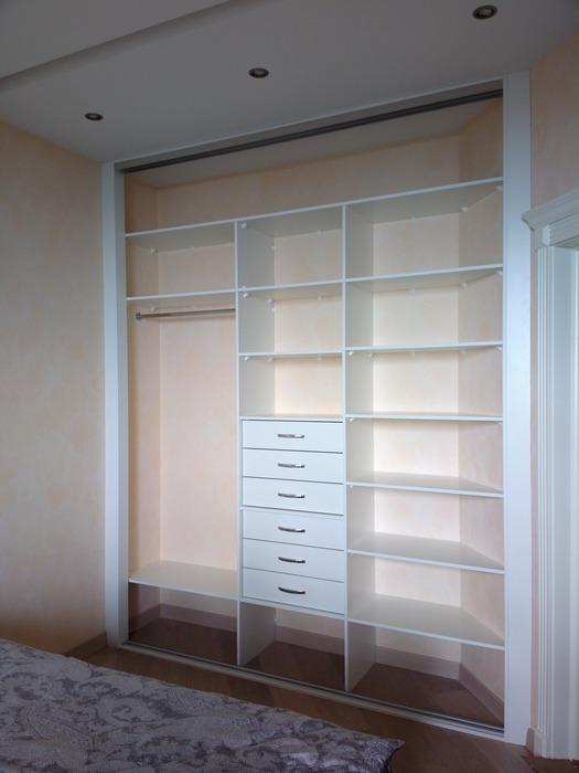 Белые шкафы-купе-Шкаф-купе с зеркалом «Модель 195»-фото2