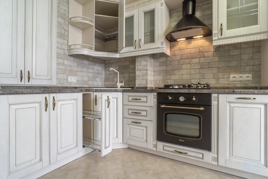 Белый кухонный гарнитур-Кухня из шпона «Модель 7»-фото8