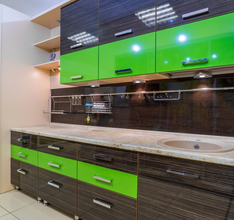 Купить зеленую кухню-Кухня из пластика «Модель 55»-фото1