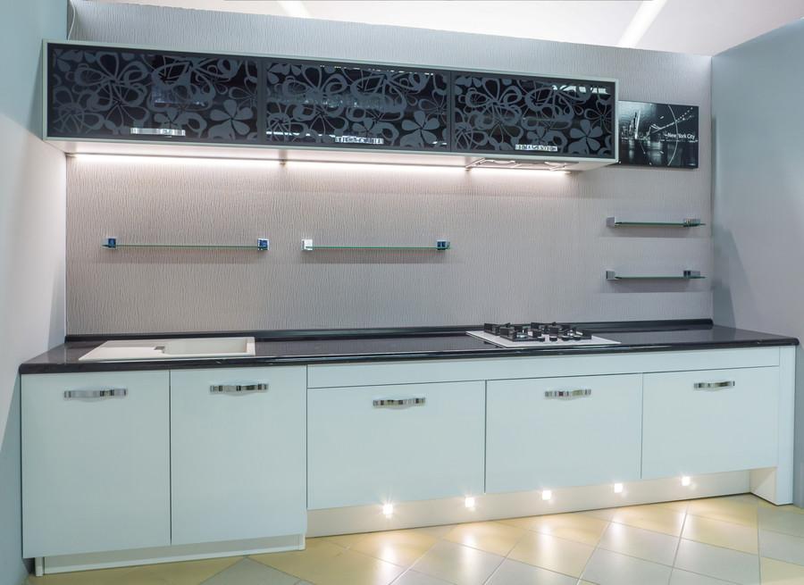 Белый кухонный гарнитур-Кухня МДФ в эмали «Модель 48»-фото2