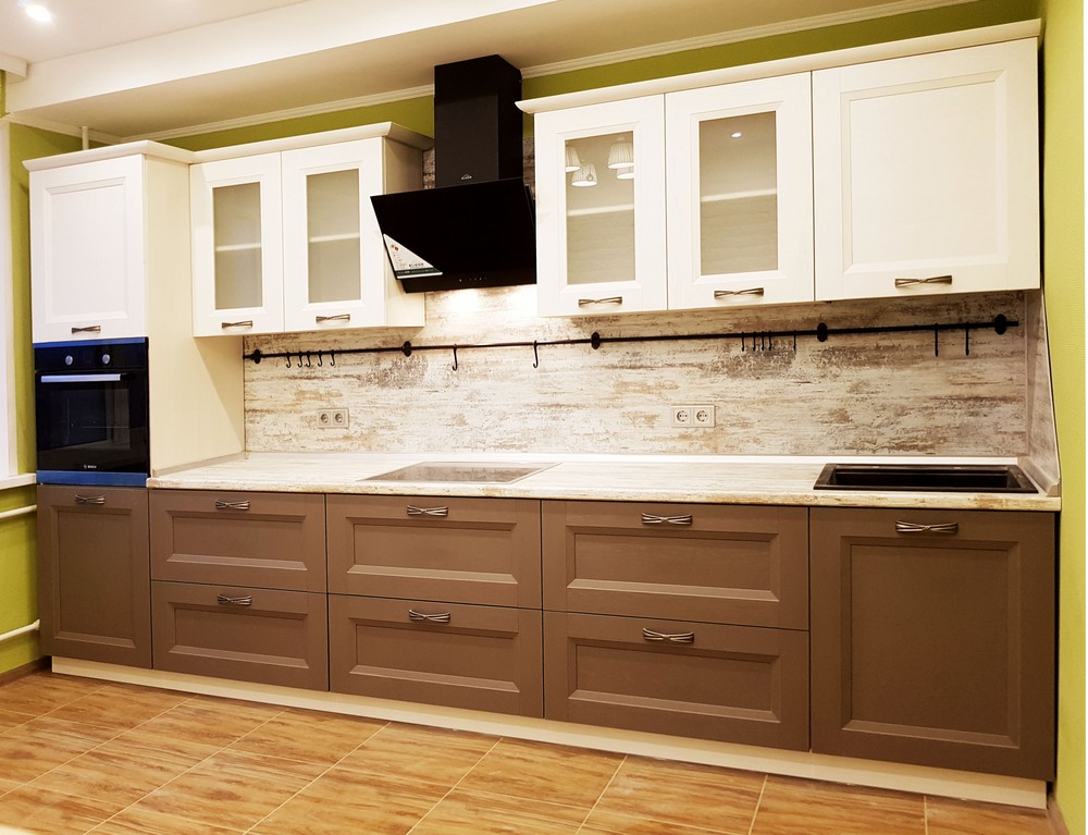 Белый кухонный гарнитур-Кухня из шпона «Модель 25»-фото2