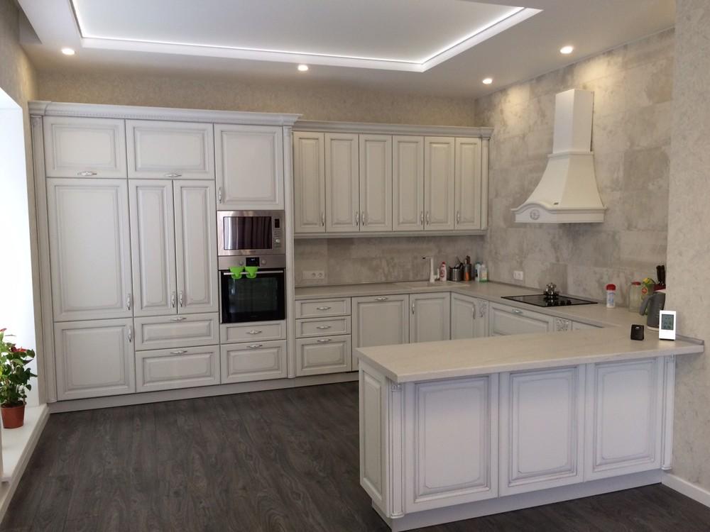 Белый кухонный гарнитур-Кухня из массива «Модель 109»-фото1