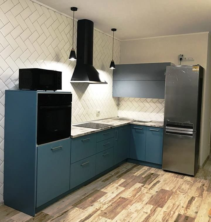 Купить голубую кухню-Кухня из пластика «Модель 373»-фото1