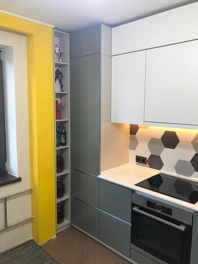 Белый кухонный гарнитур-Кухня МДФ в эмали «Модель 445»-фото6