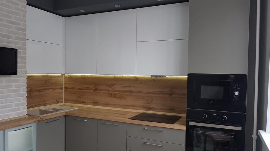 Белый кухонный гарнитур-Кухня из пластика «Модель 374»-фото2