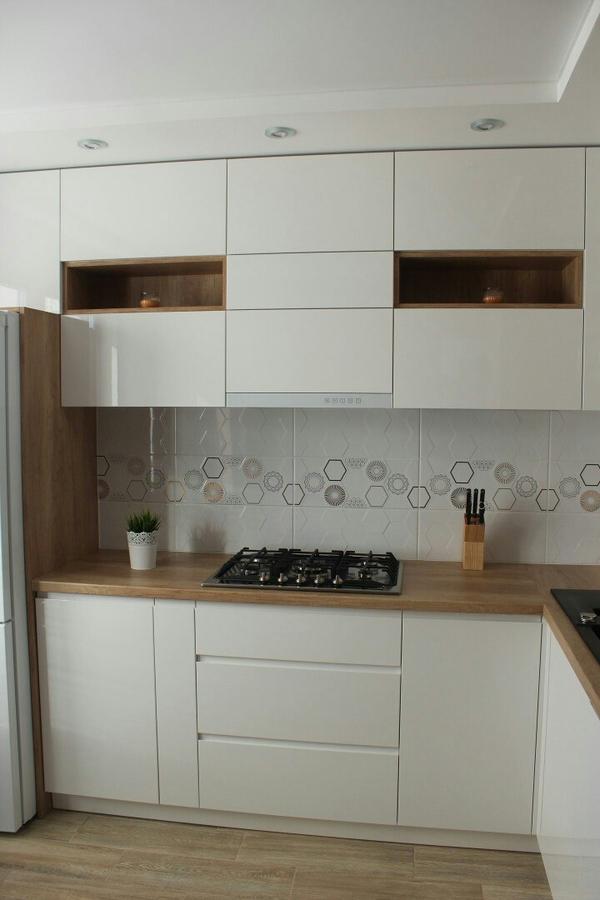Белый кухонный гарнитур-Кухня из пластика «Модель 87»-фото1