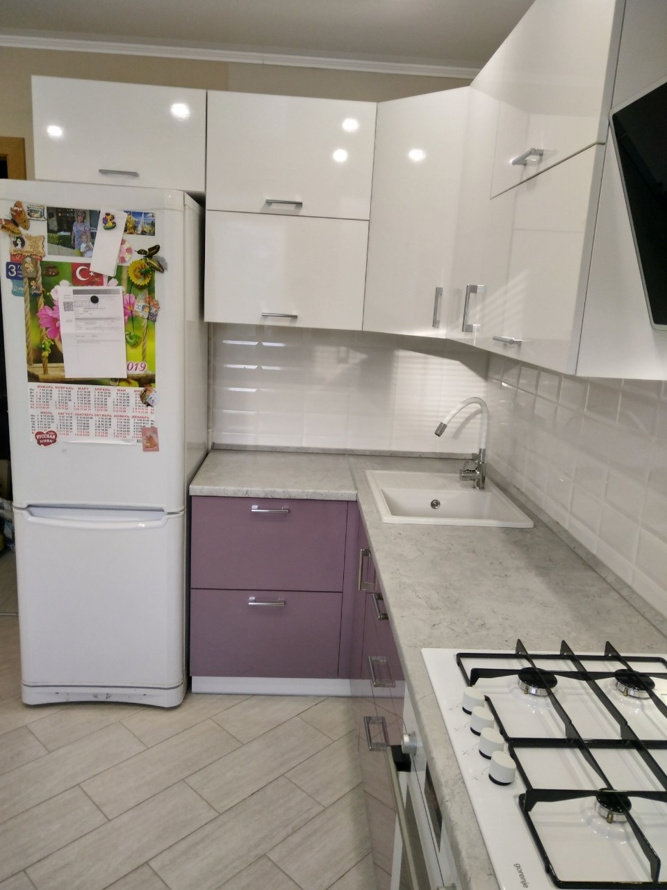 Белый кухонный гарнитур-Кухня МДФ в ПВХ «Модель 544»-фото3
