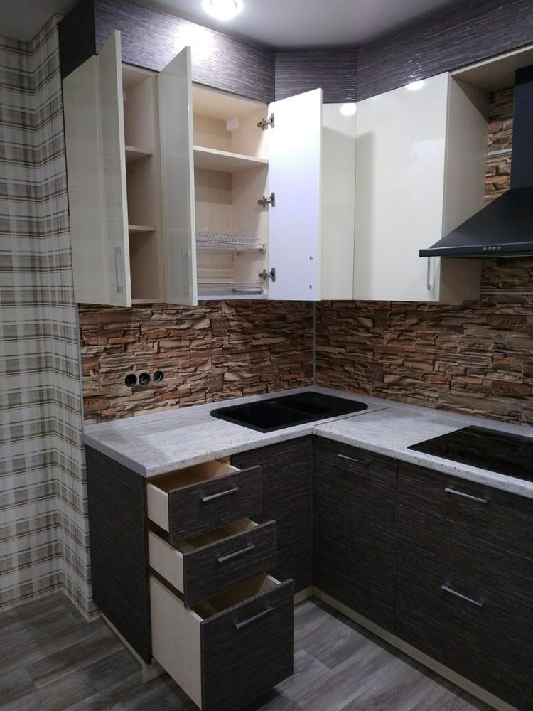 Белый кухонный гарнитур-Кухня МДФ в ПВХ «Модель 523»-фото3