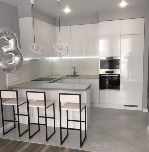 Белый кухонный гарнитур-Кухня МДФ в эмали «Модель 431»-фото2
